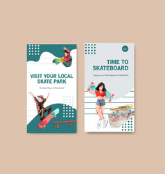 Instagram template with skateboard design concept vector