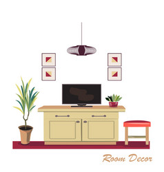 Interior design modern red living room trendy vector