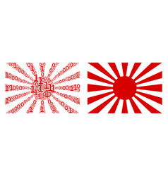 Japanese rising sun collage of binary digits vector