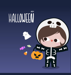kid in skeleton suit with ghost candy halloween vector image