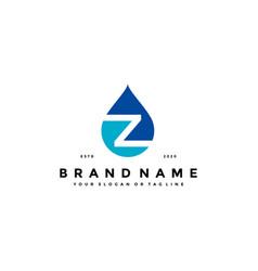 Letter z water drop logo design vector