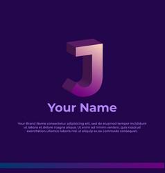 Logotype alphabet 3d logo letter j monogram logo vector