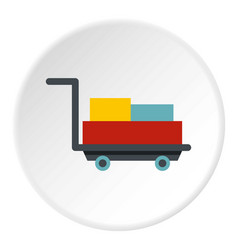 Luggage trolley with suitcases icon circle vector