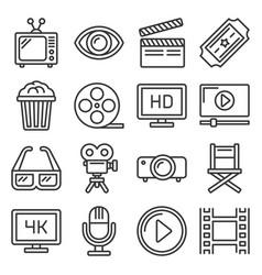 movie cinema icons set line style vector image
