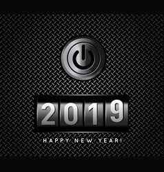 New year counter 2019 with power button vector