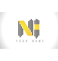 ni black lines letter logo creative line letters vector image