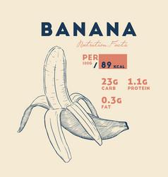 Nutrition facts ripe banana vector