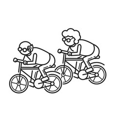 old person on bicycle concept background outline vector image