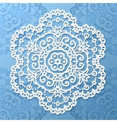 Ornate lacy white paper napkin vector image