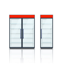 pair commercial fridges with red boards vector image