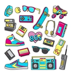 Patch icons of 80 s on white limited background vector