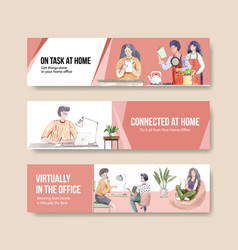 People are working from home with laptops pc vector