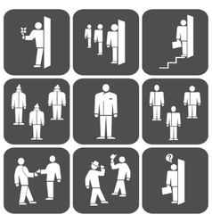 People icon set Office meeting business symbol vector image