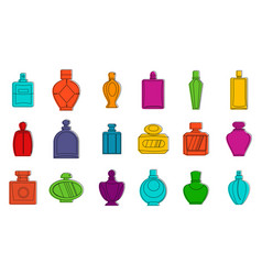 perfume icon set color outline style vector image