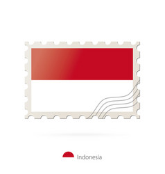 Postage stamp with image indonesia flag vector