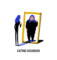 Psychology eating disorder anorexia or bulimia vector