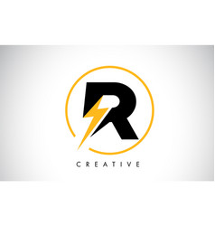 R letter logo design with lighting thunder bolt vector