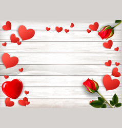 red roses and paper hearts on a wooden sign vector image