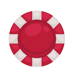 red round poker chip with striped edge isolated vector image vector image