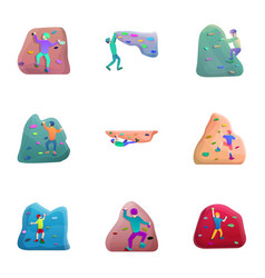 rock wall climbing icon set cartoon style vector image
