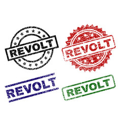 Scratched textured revolt seal stamps vector