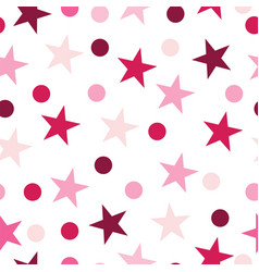 seamless pattern with stars and dots - pink colors vector image