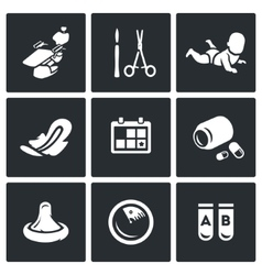 Set abortion icons equipment surgery vector