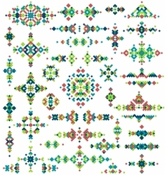 Set of bright geometric tribal design elements vector