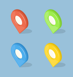 set of color 3d gps pointers isolated on blue vector image