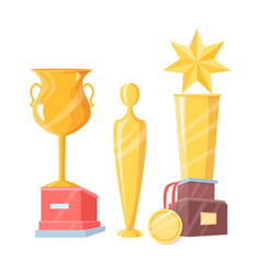 set of golden awards isolated on white backdrop vector image
