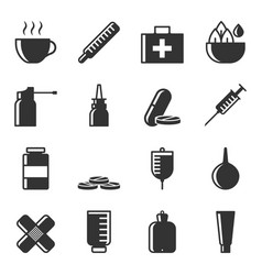 set of icons of treatment of diseases by various vector image