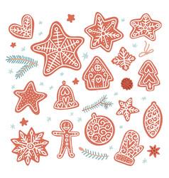 set various tasty gingerbread cookies in flat vector image
