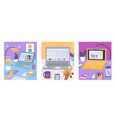 set workplaces with laptops on working desks vector image