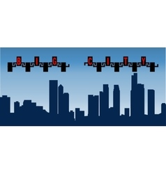 silhouette big city with high vector image