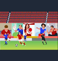 Soccer match with virtual fans vector