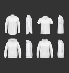 sweatshirt hoodie and shirt realistic mockup vector image