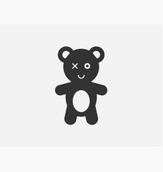 teddy toy icon on white background line style vector image
