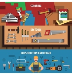 Tools Horizontal Banner Set vector