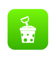 toy bucket and shovel icon digital green vector image