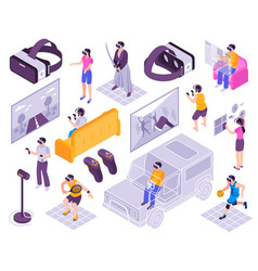 Virtual reality isometric set vector