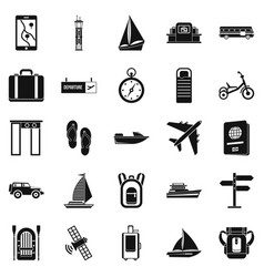 Voyage spot icons set simple style vector