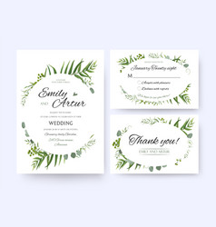 Wedding floral green invite rsvp thank you card vector