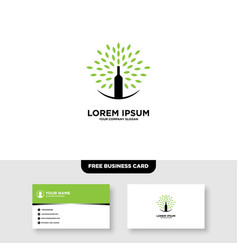 Wine bar and leaf logo and business card template vector