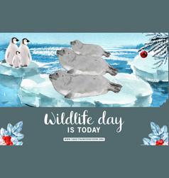 Winter animal frame design with sea lion penguin vector