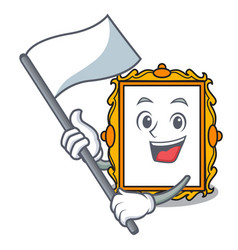 with flag picture frame mascot cartoon vector image
