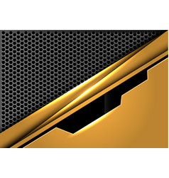 Yellow gold black line plate on silver hexagon vector