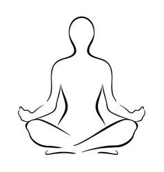yoga sitting pose silhouette vector image