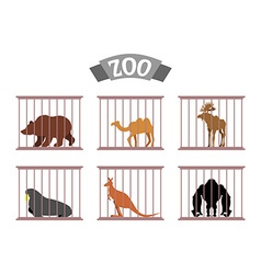 Zoo collection of wild animals in cages beasts vector