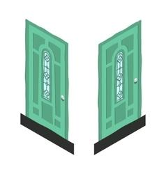 cartoon isometric abstract green door icon vector image vector image