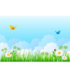 grass back cloud vector image